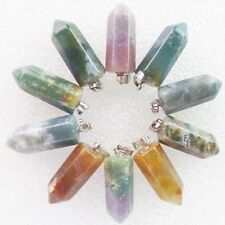 10pcs Incomparable Faceted Indian Agate Pendulum Pendant Bead WH3646