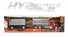 NEWRAY 1:43 KENWORTH W900 DOUBLE DUMP TRUCK DIE-CAST RED 15223