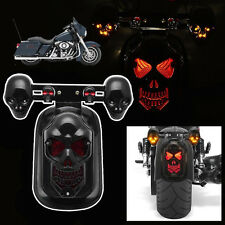 Skull Motorcycle Tail Brake Stop Light + 2 LED Turn Signal Lamp For Harley Honda