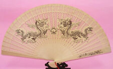 Traditional Chinese Sandalwood Fan painting dragon pattern design-CN750