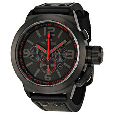 TW Steel Canteen Black Dial Chronograph Black Leather Mens Quartz Watch TW902