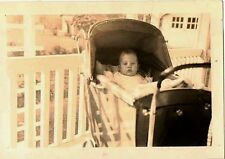 Vintage Antique Photograph Cute Little Baby in Old Time Antique Baby Carriage