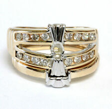14k yellow gold .32ct diamond semi mount engagement ring wedding band set 7.15g