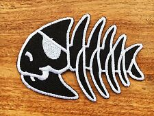 Fishbone Funny Skull Animal Skeleton New Iron On Patch Embroidered Applique