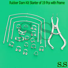 Rubber Dam Kit Starter of 19 Pcs with Frame Punch Clamps Dental Instruments
