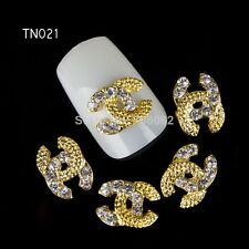 Bijoux 3D lot de 4 nail art deco manucure ongle faux ongles gel or strass a1