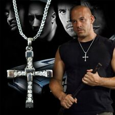 Mens Silver Cross Necklace Chain Fast and the Furious Crucifix Dominic Torreto