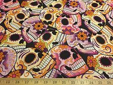 "Purple/Pink Skulls Allover Flower Power 2 Way Stretch Poly Lycra Fabric 58""W BTY"