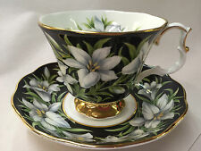 Royal Albert Provincial Flowers MADONNA LILY Black Chintz Teacup & Saucer Duo
