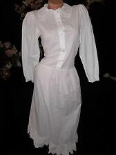 VTG PEASANT WHT COTTON EYELET LACE BUTTON DRESS PRAIRIE HIPPIE BOHO PETER PAN S