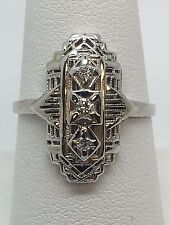 14K WHITE GOLD DIAMOND FILIGREE ANTIQUE LADIES RING SIGNED GEMART SIZE 8 .12CTW