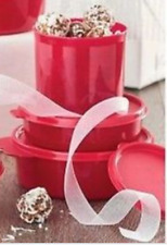 Tupperware Big Wonders Bowls & Canisters 3pc Holiday Christmas Gifts Set Red New
