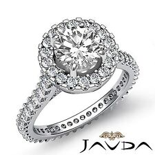 Round Diamond Halo Pave Set Engagement Ring GIA G Color VS1 18k White Gold 3ct