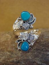 Native American Indian Jewelry Sterling Silver Turquoise Adjustable Ring! C0099