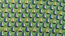 TOMMY HILFIGER GREEN BLUE SAILING BOAT REPEAT SILK NECKTIE TIE MDE0316A #C22