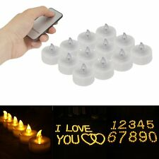 12PCS FLICKERING FLAME EFFECT MINI LED TEALIGHTS WITH REMOTE CONTROL + BATTERIES