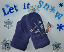 HANDMADE 100% WOOL recycled sweater MITTENS , EMBROIDERED FLOWERS, Fleece Lined