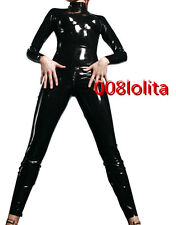 100%Latex Rubber Cool Suit Catsuit Black Tights Bodysuit Full-body Size XS~XXL