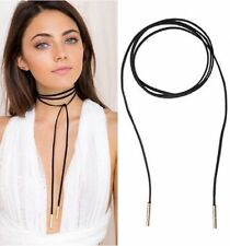 Thick Long Gold Tube Black Suede Cord String: Wrap Around Tie Ribbon Choker