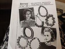 Bestway Vintage NECKLETS Ladies Knitting Pattern PHOTOCOPY IS BLACK & WHITE