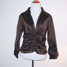 Tadashi Bronze Brown Taffeta Ruched Plunge V-Neck Evening Blouse Top Size 12