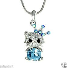 "KITTEN CAT W Swarovski Crystal Blue Gift Pendant Necklace Jewelry 18"" Chain"