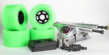 90mm 78a Neon Green Longboard Wheels and Silver Reverse Kingpin Truck Combo Set