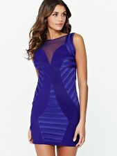 BNWT Stunning Lipsy Purple Mesh Inserts Bodycon Size 8 £60 Dress Party Clubbing