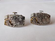 Watch Movement Cufflinks --Steampunk Gears Machine Industrial Rectangular Zvezda