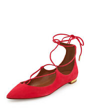 NEW AQUAZZURA Christy Sorbet Pink Suede Lace-Up Flats Pointed Toe size 7.5 37.5