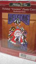 Holiday Time plastic canvas needlepoint kit BIRDHOUSE SANTA door decor Christmas