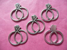 Tibetan Silver Wedding/Engagement Ring Charm - 5 per pack