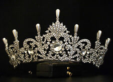 VINTAGE DESIGN ORNATE PEARL CRYSTAL ROYAL CROWN TIARA - BRIDAL WEDDING