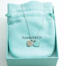 Auth Tiffany & Co. Sterling Silver MINI HEARTS  BLUE ENAMEL pendant necklace