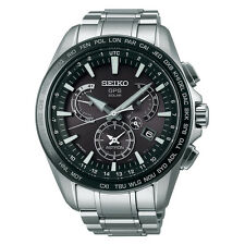 New Seiko Astron Solar GPS Dual Time Stainless Steel Men's Watch SSE077