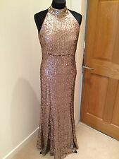 Brand New M&S Sequin Gold Dress / Gown - Formal / Full Length