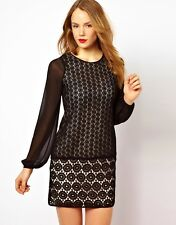 COAST SOPHETTE BLACK SHEER CHIFFON HEAVY GEO LACE 20'S SHIFT DRESS 12 ONCE £145