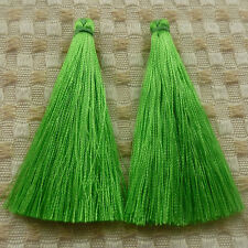 free ship 40pcs green silk yarn tassels charms 67mm ZH1325