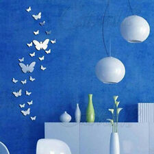 UK 30PCs Removable Butterfly DIY Art Silver Acrylic Mirror Wall Sticker Decor