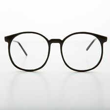 1980s Oversized Round Schoolboy Eyeglasses with Glass Lens NOS Black - SMARTY