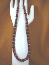 """(v30-130) 16"""" long 9x5 red Bamboo coral + black Onyx beaded Necklace JEWELRY"""