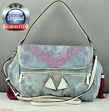 New Stylish Gift Handbag GUESS Satchel Tote Tika Denim Ladies Blue Bag Original