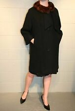 M~L Black Wool Mink Fur Collar LILLI ANN Paris Vtg 50s Draped Outwear Dress Coat