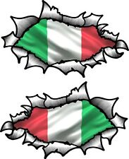 Small Pair Oval Ripped Torn Metal & Italy Italian il Tricolore Flag car sticker