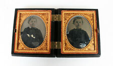 SET OF TWO AMBROTYPES OF YOUNG BOY IN BEAUTIFUL ORIGINAL GEOMETRIC UNION CASE