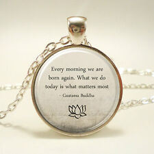Vintage Cabochon Quote Silver Plated Glass Chain Pendant Necklace zz#14