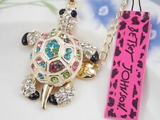Betsey Johnson Turtle Pendant Necklace in Gold with Multi Color Gem Stones