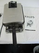 KRUPS WAFFLE IRON  MAKER ROTARY FLIP FDD912 WITH DIRECTIONS  RECIPES