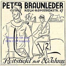 Reitstiefel Braunleder Köln Reklame von 1929 Polo Polohelm Reithelm Werbung ad +