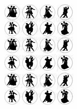 24 BALLROOM DANCING IN SILHOUETTE TOPPER ICING EDIBLE FAIRY/CUP CAKE  TOPPERS